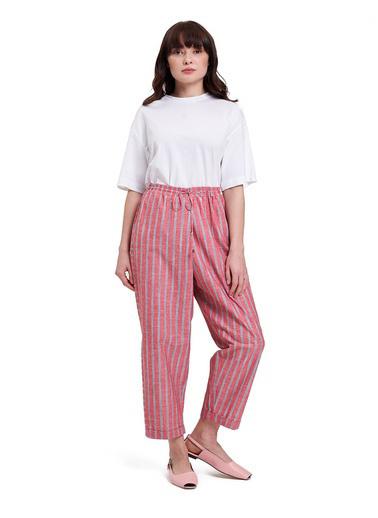 Mizalle Mızalle Çizgili Parça Detaylı Pantolon  Kırmızı